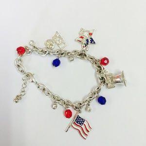 Avon American Pride Charm Bracelet Silver Tone